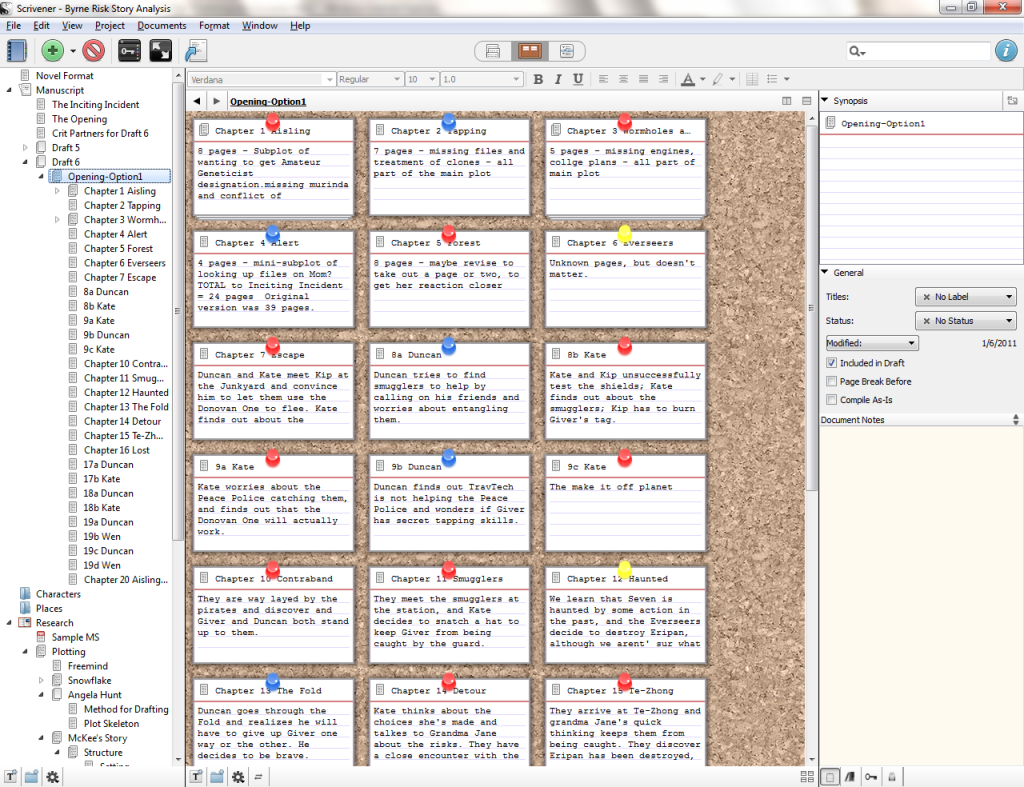This is what your scrivener screen can look like, if you are a power user (which I am not).