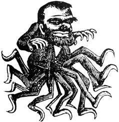This is either Frankenstein crossed with an octopus or Abraham Lincoln crossed with a spider.