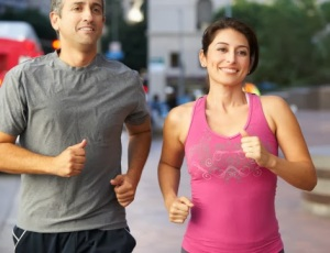 Look at how happy this couple is. Running doesn't cost them any willpower because it just makes them sooooo happy. Jerks.